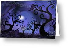 Illustration Print Of Spooky Forest Of Curly Trees Greeting Card by Sassan Filsoof