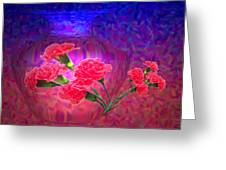 Impressions Of Pink Carnations Greeting Card by Joyce Dickens