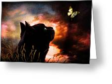 In A Cats Eye All Things Belong To Cats.  Greeting Card by Bob Orsillo