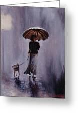 In Rain Or Shine Greeting Card by Laura Lee Zanghetti