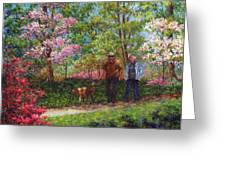 In The Azalea Garden Greeting Card by Susan Savad