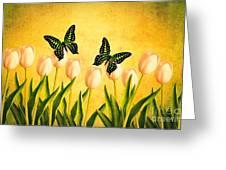 In The Butterfly Garden Greeting Card by Edward Fielding