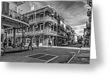 In The French Quarter Monochrome Greeting Card by Steve Harrington