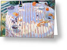 In The Garden Table With Oranges  Greeting Card by Sarah Butterfield