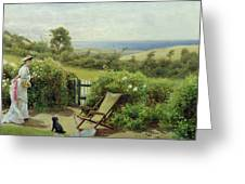 In The Garden Greeting Card by Thomas James Lloyd