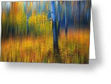 In The Golden Woods. Impressionism Greeting Card by Jenny Rainbow