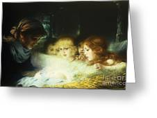 In The Manger Greeting Card by Hugo Havenith