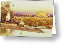 In The Punt Greeting Card by Thomas James Lloyd