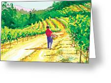 In The Vineyard Greeting Card by Ray Cole