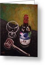 In Vino Veritas Greeting Card by Victoria Lakes