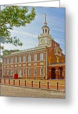 Independence Hall Philadelphia  Greeting Card by Tom Gari Gallery-Three-Photography