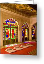 India, Stained Glass Windows Of Fort Greeting Card by Bill Bachmann