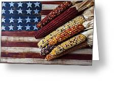 Indian Corn On American Flag Greeting Card by Garry Gay