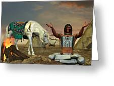 Indian Cry For Rain Greeting Card by Corey Ford