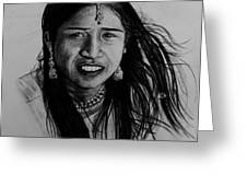 Indian Girl Greeting Card by Caroline  Reid
