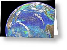 Indian Ocean, chlorophyll and bathymetry Greeting Card by Science Photo Library