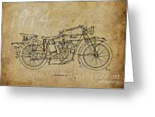 Indian V-twin 1914 Greeting Card by Pablo Franchi