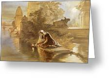 Indian Woman Floating Lamps Greeting Card by William 'Crimea' Simpson