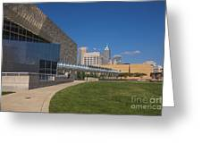 Indiana State Museum And Indianapolis Skyline Greeting Card by David Haskett