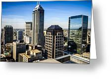 Indianapolis Aerial Picture Of Downtown Office Buildings Greeting Card by Paul Velgos