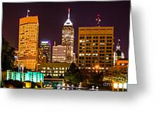 Indianapolis Skyline At Night Picture Greeting Card by Paul Velgos