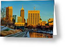Indianapolis Skyline Dynamic Greeting Card by David Haskett