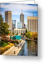 Indianapolis Skyline Picture Of Canal Walk In Autumn Greeting Card by Paul Velgos