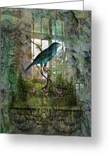 Indoor Garden With Bird Greeting Card by Sarah Vernon