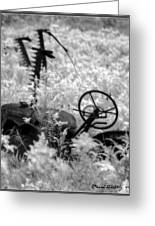Infrared Bw Old Farm Tractor 8 Greeting Card by David Blatchley