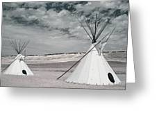 Infrared Image Of Native American Tipis Greeting Card by Roberta Murray