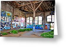 Inside The Old Train Roundhouse At Bayshore Near San Francisco And The Cow Palace II Greeting Card by Jim Fitzpatrick