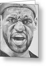 Intensity Lebron James Greeting Card by Tamir Barkan