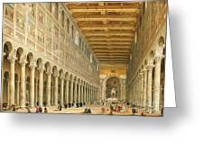 Interior of San Paolo Fuori le Mura Greeting Card by Giovanni Paolo Panini