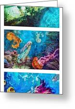 Into Deep Triptic Greeting Card by Mo T