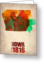 Iowa Watercolor Map Greeting Card by Naxart Studio