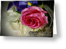Iris And Rose On Vintage Treasure Box Greeting Card by Inspired Nature Photography By Shelley Myke