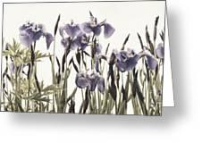 Iris In The Park Greeting Card by Priska Wettstein