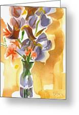 Irises With Stars Of Bethlehem Greeting Card by Kip DeVore