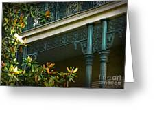 Iron Detail With Magnolia Tree Greeting Card by Jeanne  Woods