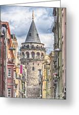 Istanbul Galata Tower Greeting Card by Antony McAulay