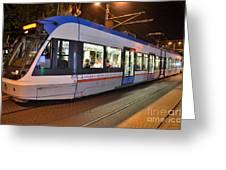 Istanbul Tram At Night Greeting Card by Imran Ahmed