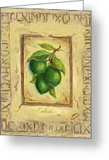 Italian Fruit Limes Greeting Card by Marilyn Dunlap