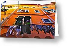 Italian Laundry Greeting Card by Mark Prescott Crannell