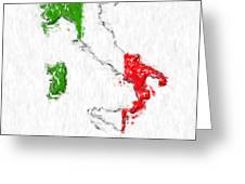 Italy Painted Flag Map Greeting Card by Antony McAulay