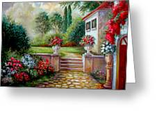 Italyan Villa With Garden Greeting Card by Gina Femrite
