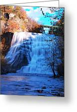 Ithaca Water Falls New York Panoramic Photography Greeting Card by Paul Ge
