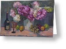 J. P. Chenet And Peonies Greeting Card by Diane McClary