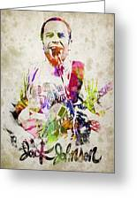 Jack Johnson Portrait Greeting Card by Aged Pixel