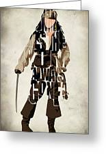 Jack Sparrow Inspired Pirates Of The Caribbean Typographic Poster Greeting Card by Ayse Deniz