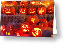 Jacko'lanterns Greeting Card by Suzanne DeGeorge